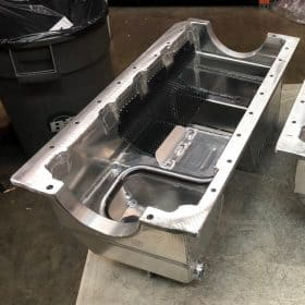 SBF Fabricated Aluminum Dual Sump Oil Pan Top View